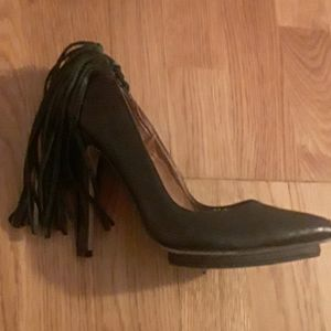 Stunning black leather fringed heels